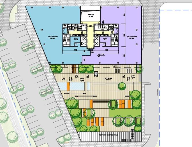 תכנית קומת גן וקומת משרדים טיפוסית