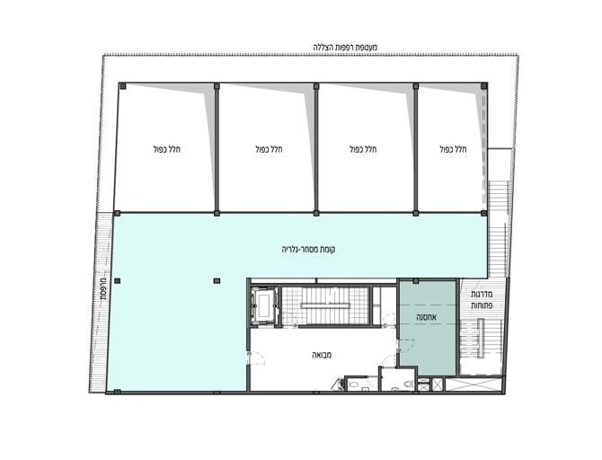 תכנית קומה א - גלרייה עם חלל כפול למסחר בקומת הקרקע